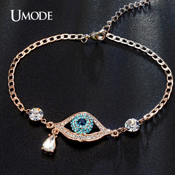 UMODE New Arrival Evil Eye Three Colors Austrian Rhinestnes Bracelets For Women Rose Gold Plated Pulseira Jewelry Bijoux UB0060A