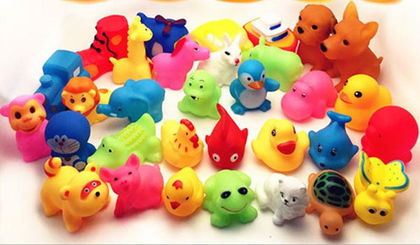 13Pcs Lovely Mixed Animals Colorful Soft Rubber Float Squeeze Sound Squeaky Bathing Toy For Baby GYH