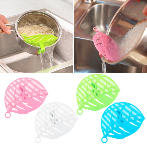 1PC Durable Clean Leaf Shape Rice Strainer Sieve Beans Peas Cleaning Gadget Strainer for Kitchen Clips Tools