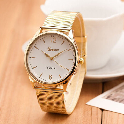New Famous Brand Silver Casual Geneva Quartz Watch Women Mesh Stainless Steel Dress Women Watches