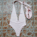 2017 Sexy Deep V Neck wrap around High waist one piece swimsuit women swimwear bathing suit bandage bodysuit romper bather V307