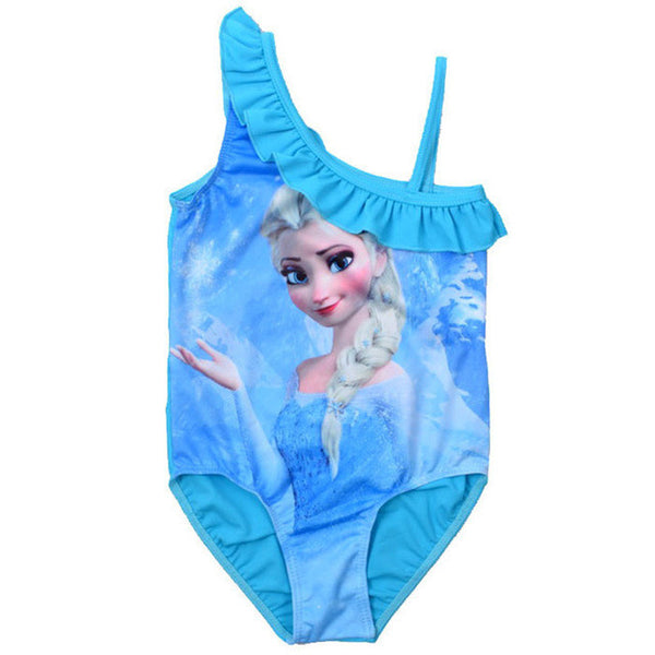 Actionclub Swimsuit Kids Character Elsa Princess Ice Blue Summer Beachwear Children Baby Swimming Wear Girls One Piece SA153