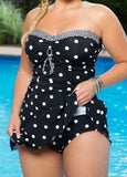Dots Print Swimwear Women Two Piece Plus Size Swimsuit 2017 Vintage Retro Bathing Suit Brazilian Monokini Skirt Swimsuit