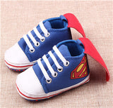 New Superman Baby Shoes 2017 New Fashion Batman Cartoon Toddler Infants Shoes 11cm 12cm 13cm Baby Boys Shoes First Walkers