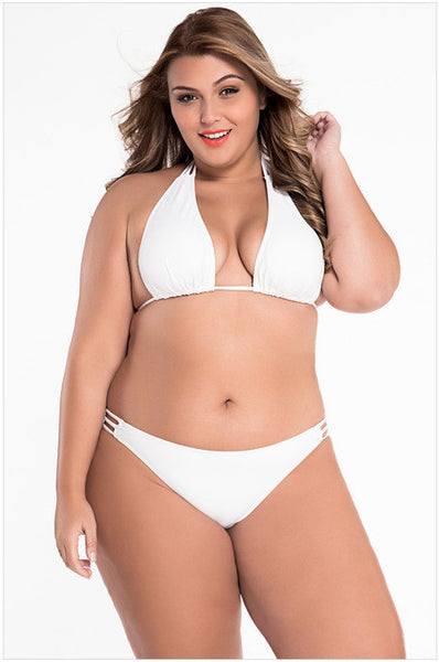 Plus size White Black sexy women Bikini 2 piece set Swimsuit biquini summer style beach wear 2017 swimwear maillot de bain 41222