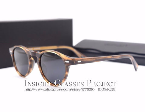 Famous brand  ov5186 Gregory Peck polarized sunglasses Vintage men and women sunglasses with original case