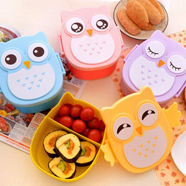 2 Layer Cartoon Owl Lunchbox Bento Lunch Box Food Fruit Storage Container Plastic Lunch box Microwave Cutlery Set  Children Gift