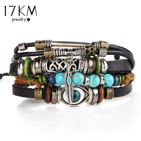 17KM Punk Design Turkish Evil Eye Bracelets For Women Men Wristband Female Owl Leather Bracelet Ethnic Turquoise Vintage Jewelry