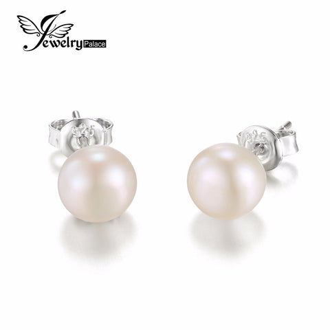 JewelryPalace 925 Sterling Silver Freshwater Cultured 8-9mm White Pearl Stud Earrings Fashion Party Stud Earring Fine Jewelry