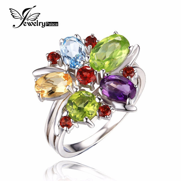 Flower Multicolor 3.1ct Natural Amethyst Garnet Peridot Citrine Blue Topaz Cocktail Ring 925 Sterling Silver Ring
