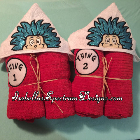 Thing 1 or Thing 2 Inspired Hooded Towel