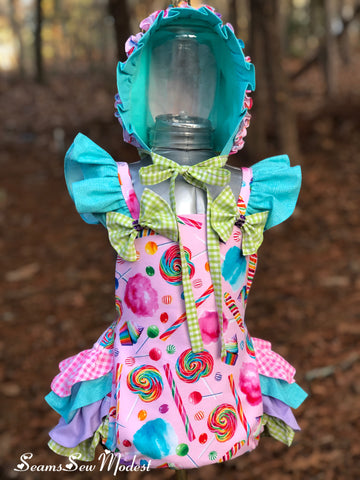 Candy Party Ruffle Butt romper and Bonnet