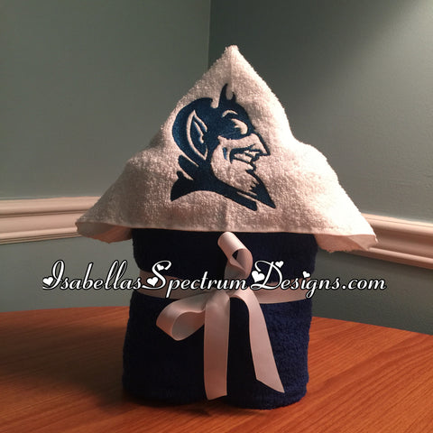 Duke Blue devil inspired Hooded towel