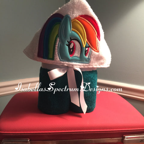 Rainbow Dash Inspired Hooded Towel