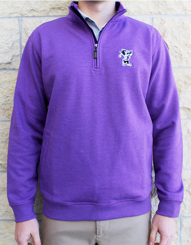 Golfing Willie Blended Cotton Melange ¼ Zip (Purple)