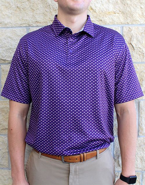 Custom Powercat Allover Print Polo (Purple)