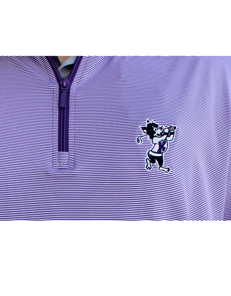 Golfing Willie Performance Custom Stripe ¼ Zip (Purple/White)