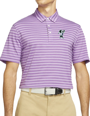K-State NIKE Dri-Fit Player Striped Polo (Purple Nebula)
