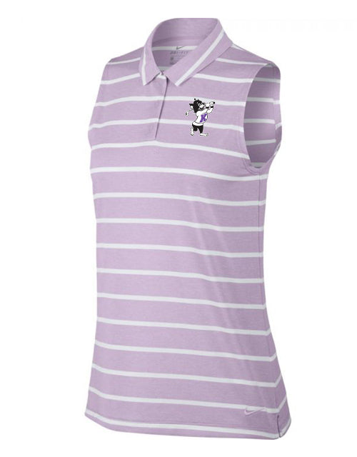 NIKE Women's Dri-Fit Sleeveless Stripe Polo (Lilac Mist)