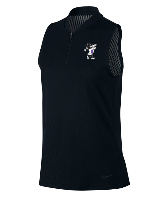 NIKE Women's Dri-Fit Blade Sleeveless Polo (Black)