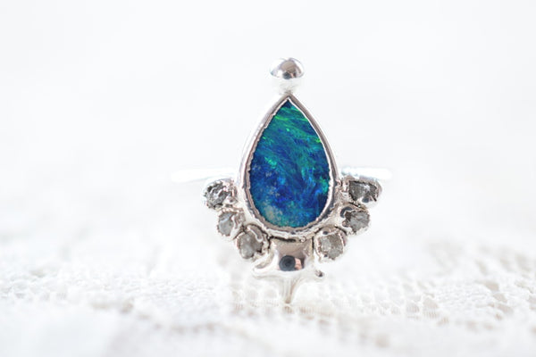 OPAL AND ROUGH DIAMOND 'QUEEN OF THE OCEAN' RING IN FINE SILVER