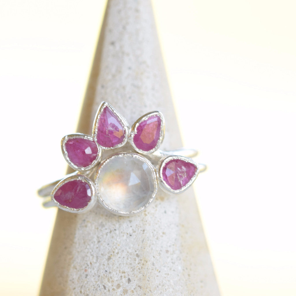 ROSE CUT RUBY AND MOONSTONE 'STARBRIGHT' RING SET IN FINE SILVER