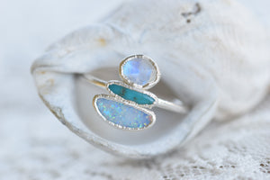 OPAL, MOONSTONE AND TURQUOISE ' BALLANCE' RING IN FINE SILVER
