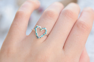 RAW TURQUOISE AND BLUE DIAMOND HEART RING IN FINE SILVER