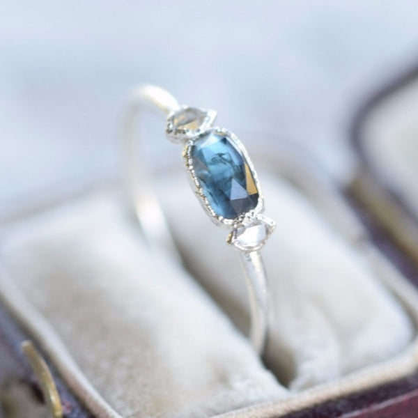 BLUE SAPPHIRE AND HERKIMER DIAMOND RING IN FINE SILVER