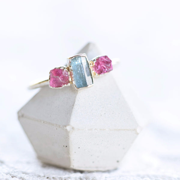 RAW AQUAMARINE AND PINK TOURMAILNE RING IN FINE SILVER