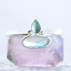 ROSE CUT MOONSTONE AND EMERALD RING IN FINE SILVER