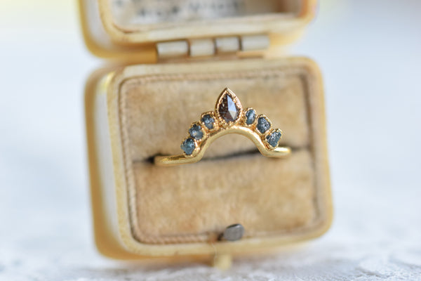 ROUGH BLUE AND BROWN DIAMOND 'BOHEMIA RING' IN GOLD