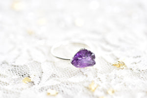 RAW AMETHYST RING IN FINE SILVER (LARGE STONE VERSION)