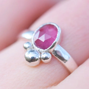 ROSE CUT RUBY RING IN FINE SILVER