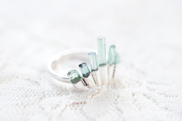 PASTEL GREEN TOURMALINE CRYSTAL CROWN RING IN FINE SILVER