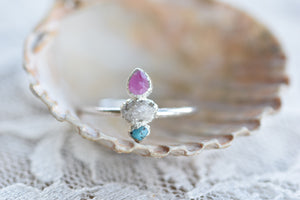RUBY, ROUGH DIAMOND AND TURQUOISE RING IN FINE SILVER