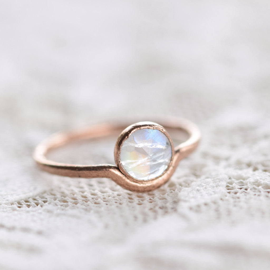 ROSE CUT MOONSTONE 'MOONRISE' RING IN FINE SILVER
