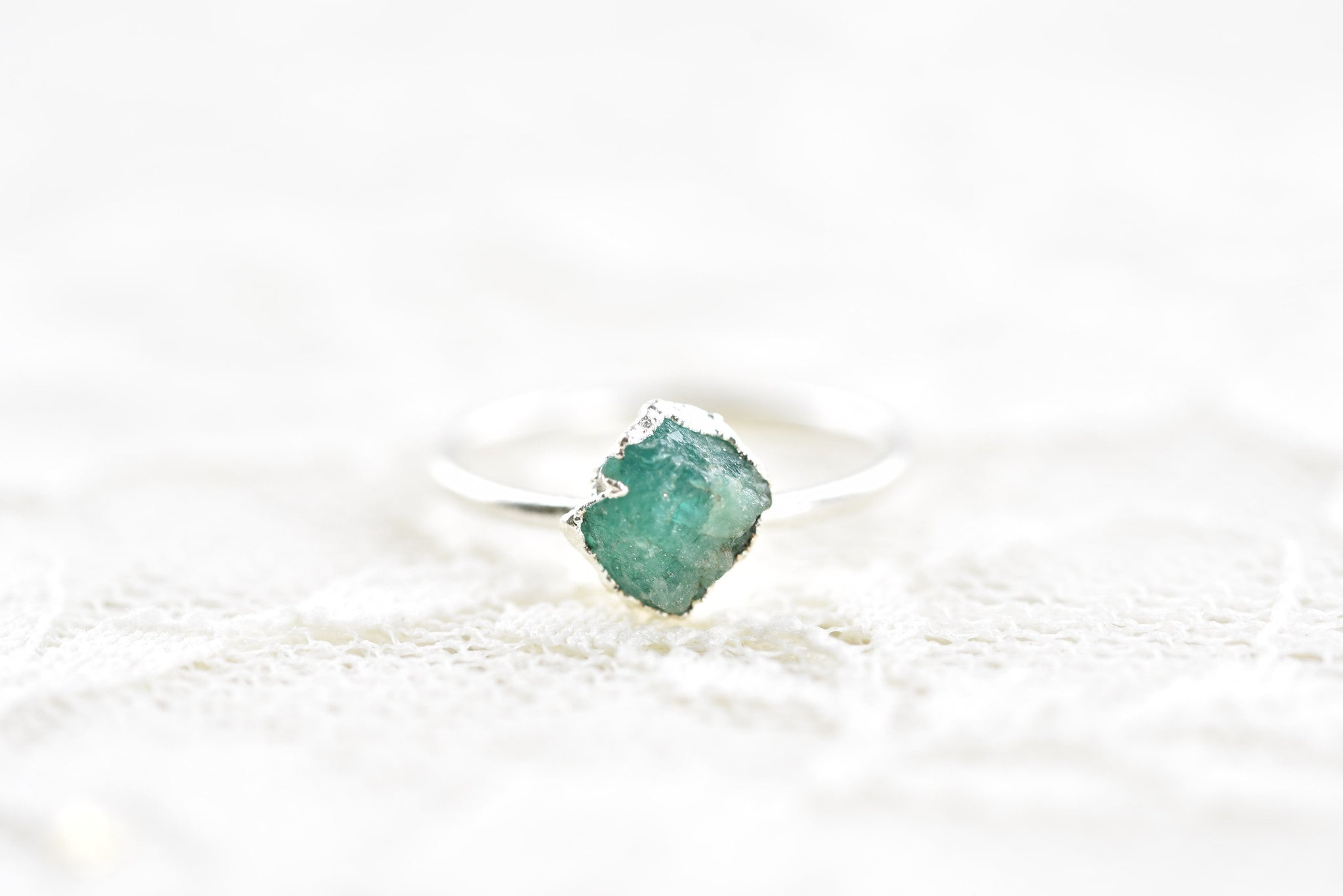 RAW EMERALD RING IN FINE SILVER (MEDIUM STONE VERSION)