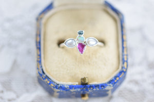 'BEE RING' RUBY, PEARL, DIAMOND AND OPAL RING IN FINE SILVER