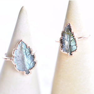 HAND CARVED LABRADORITE LEAF RING IN RECYCLED COPPER