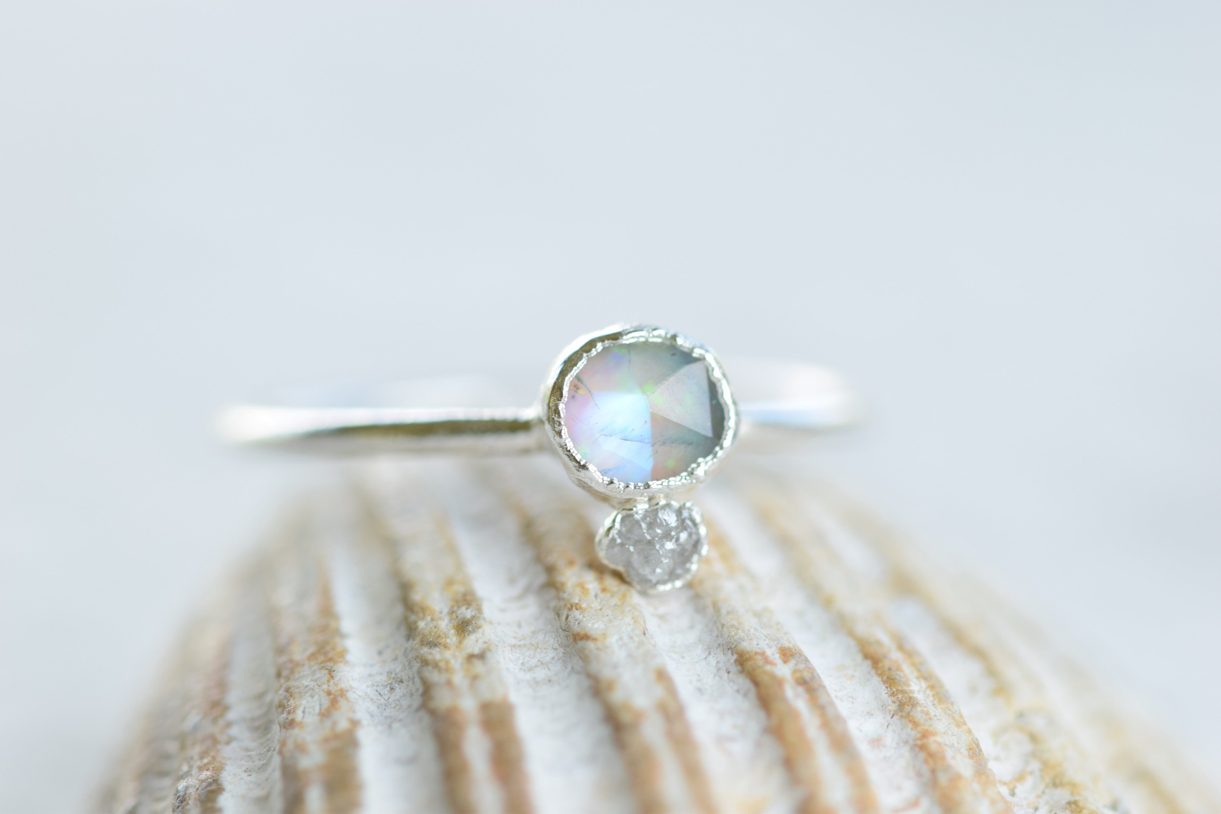 HYBRID OPAL AND MOONSTONE WITH RAW DIAMOND RING IN FINE SILVER