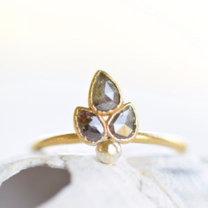 ROSE CUT PEPPER DIAMOND 'SPROUT' RING IN GOLD