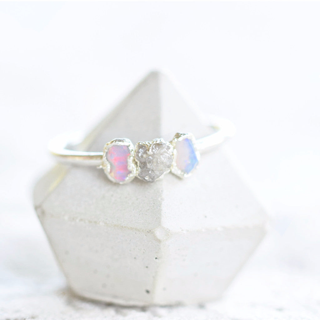 THREE STONE RAW OPAL AND DIAMOND RING IN FINE SILVER