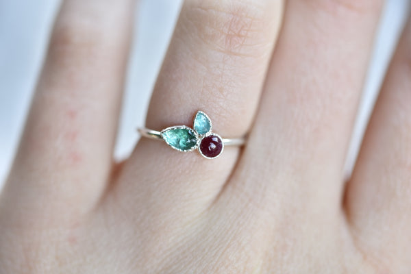 EMERALD AND RUBY 'CHERRY RING' IN FINE SILVER
