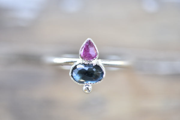 ROSE CUT RUBY AND SAPPHIRE RING IN FINE SILVER