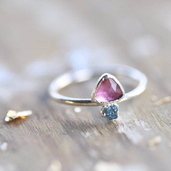 PINK TOURMALINE AND RAW BLUE DIAMOND RING IN FINE SILVER