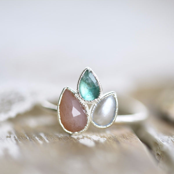 PINK OPAL, PEARL AND EMERALD 'SPRINGTIME' RING IN FINE SILVER