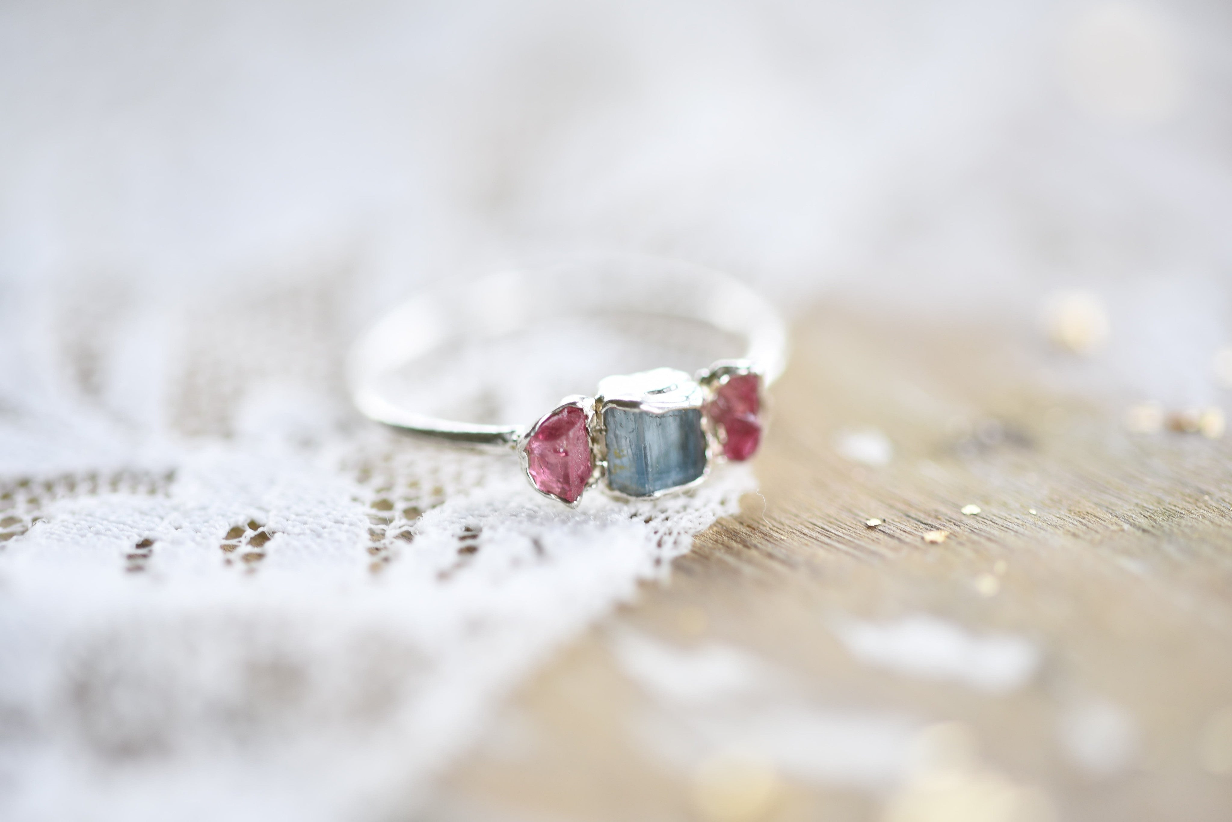 RAW AQUAMARINE AND PINK TOURMAILINE RING IN FINE SILVER