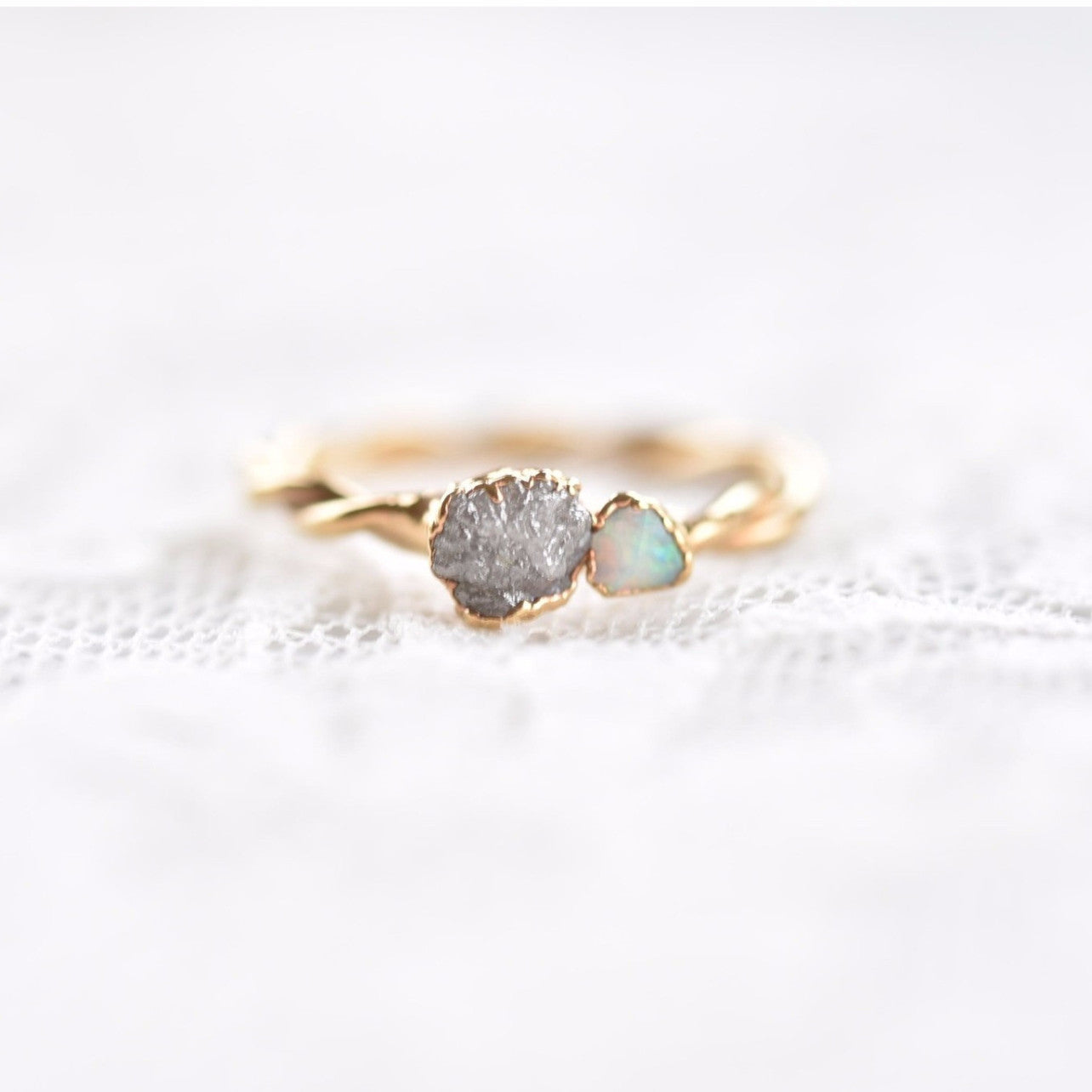 GOLD ROUGH DIAMOND AND RAW OPAL RING
