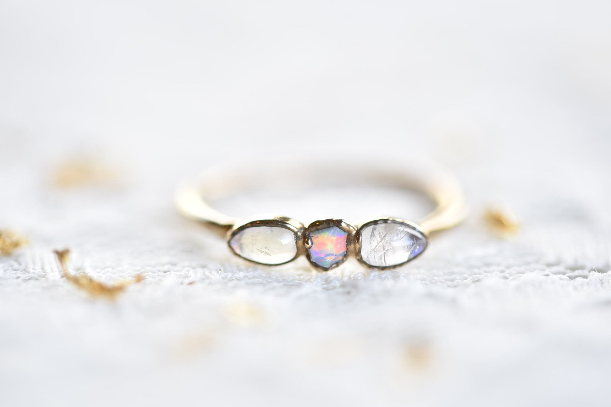 ROSE GOLD RAW OPAL AND MOONSTONE RING